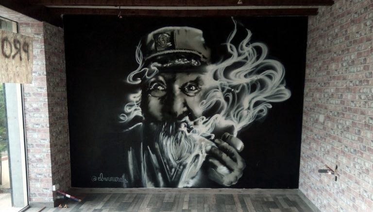 portrait dessiné par éban, un graffiti à la bombe dans les Yvelines, Ile-de-France